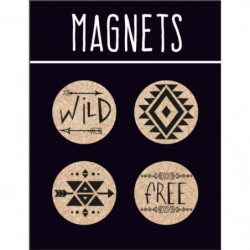 EMOTION Lot de 4 magnets en liege