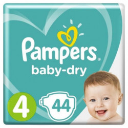 PAMPERS Baby Dry Taille 4 - 8 à 16 kg - 44 couches - Format