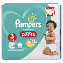Pampers Baby-Dry Pants Taille 3, 6-11 kg, 26 Couches-Culotte