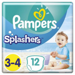 Pampers Splashers Taille 3-4, 6-11 kg, 12 Couches-Culottes D