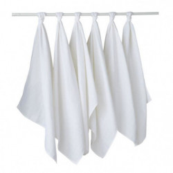 BABYCALIN Lot de 6 langes - Blanc - 50 x 70 cm