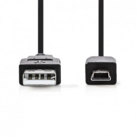 NEDIS USB 2.0 Cable - à Male - Mini 5-pin Male - 1.0 m - Noi