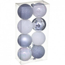 FEERIC LIGHTS & CHRISTMAS Kit de 8 boules de 70 mm - Argent