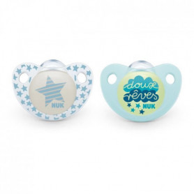 NUK 2 Sucettes DAY & NIGHT Silicone 0-6m DUO