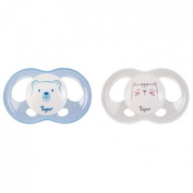TIGEX 2 Sucettes Soft Touch Silicone Taille 0-6 m  Ourson Chat