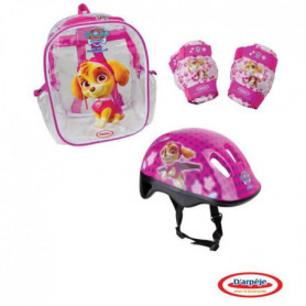 PAT PATROUILLE Sac 3 protections rose : casque + coudieres + genouillere