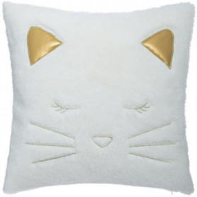Coussin Fake Fur Chat 100% polyester - Blanc